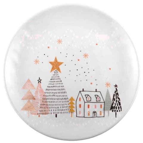 """Melange 36-Piece 100% Melamine Salad Plates Christmas Collection-Golden Fox Shatter-Proof and Chip-Resistant , 10.5"""", White"""