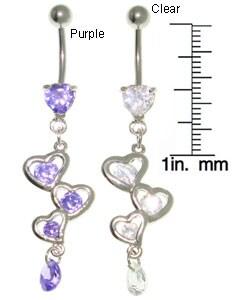 Jewelry Trends Fancy Heart Dangle Belly Ring