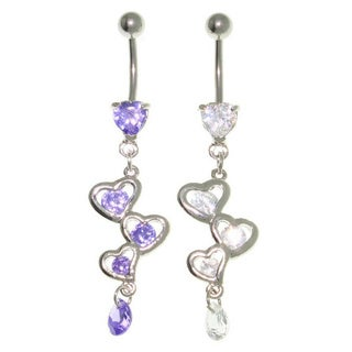 Carolina Glamour Collection Fancy Heart Dangle Belly Ring