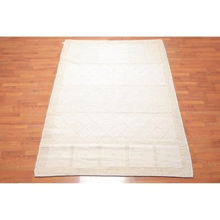 """Hand Knotted Modern & Contemporary Folksy Wool Flatweave Area Rug (6'2""""x8'8"""") - 6'2"""" x 8'8"""""""