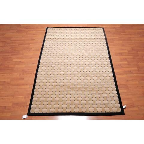"Modern Basket Weave Hand Knotted Wool Tibetan Area Rug (5'11""x9'3"") - 5'11"" x 9'3"""