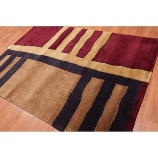 "Contemporary Hand Knotted Wool Oriental Area Rug (5'8""x8'2"") - 5'8"" x 8'2"""