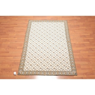 Hand Woven Wool French Needlepoint Flatweave Area Rug (5'x8') - 5' x 8'