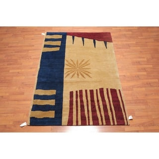 "Contemporary Hand Knotted Wool Tibetan Area Rug (5'7""x8'2"") - 5'7"" x 8'2"""