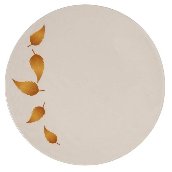 Melange 6-Piece Melamine Salad Plate Set (Gold Leaves Collection )|Shatter-Proof and Chip-Resistant Melamine Salad Plates