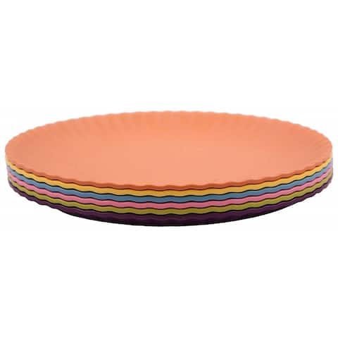Melange 6-Piece Melamine Dinner Plate Set (Paper Plate Collection) Shatter-Proof Dinner Plates Multicolor