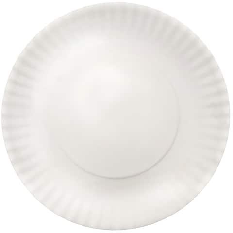 Melange 6-Piece Melamine Dinner Plate Set (Paper Plate Collection) Shatter-Proof Dinner Plates White