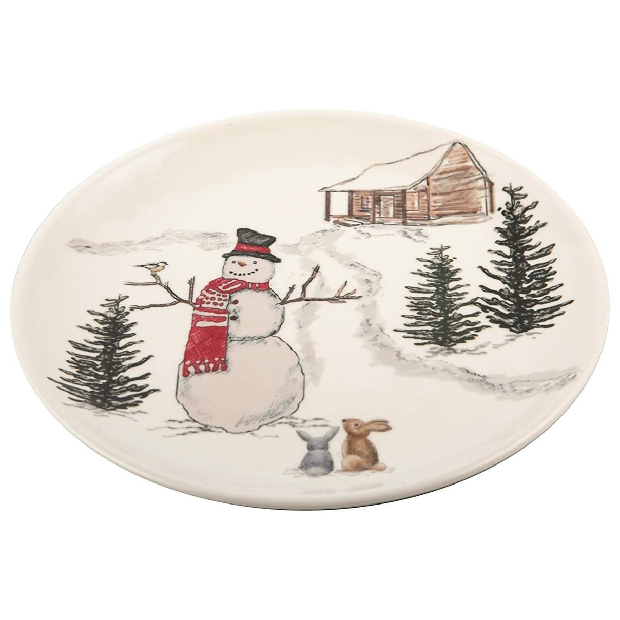 Melamine Christmas Platters.Melange 6 Piece 100 Melamine Salad Plates Christmas Collection Snowman Shatter Proof And Chip Resistant 10 5 White