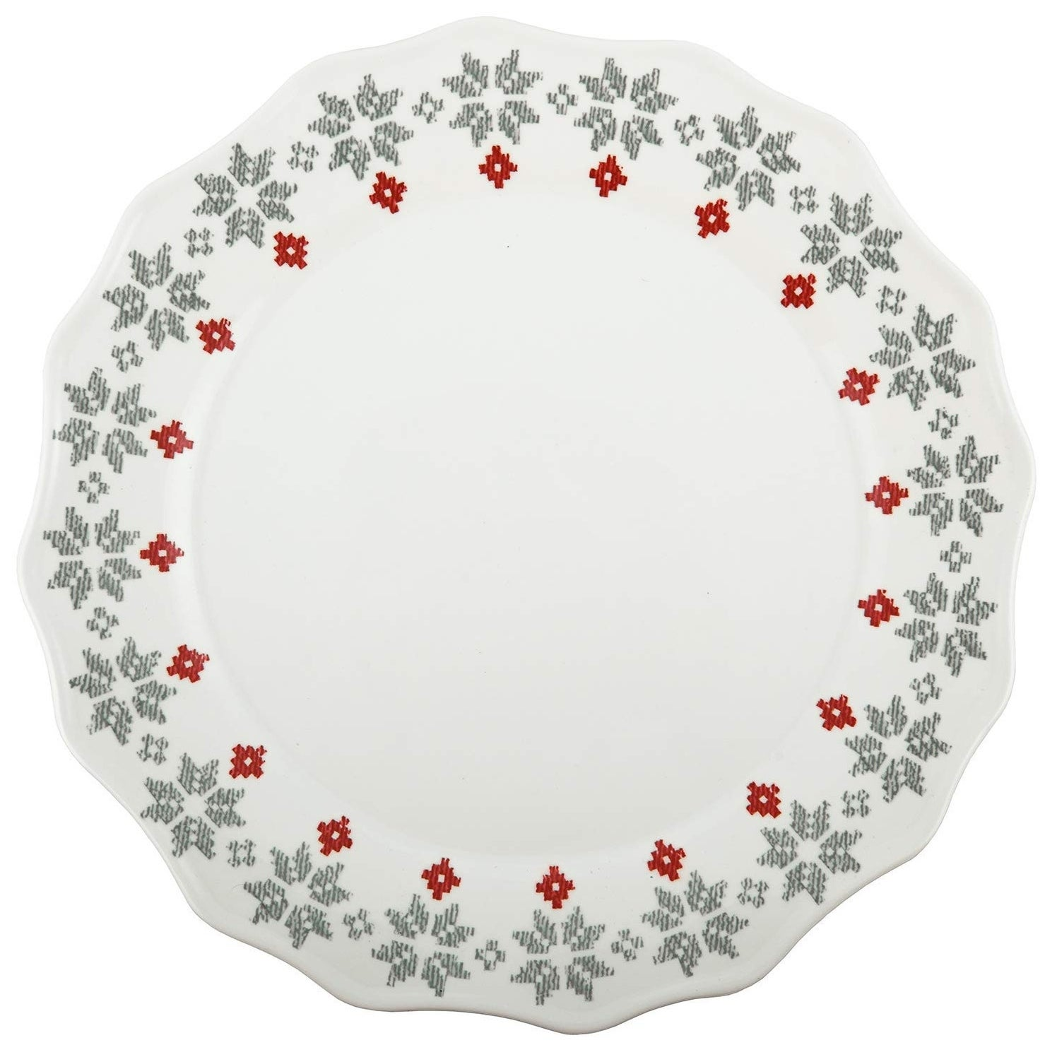 Melamine Christmas Platters.Melange 6 Piece 100 Melamine Dinner Plates Christmas Collection New Age Holly Shatter Proof And Chip Resistant 10 5 White