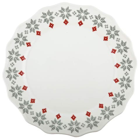"""Melange 6-Piece 100% Melamine Dinner Plates Christmas Collection-New Age Holly Shatter-Proof and Chip-Resistant , 10.5"""", White"""