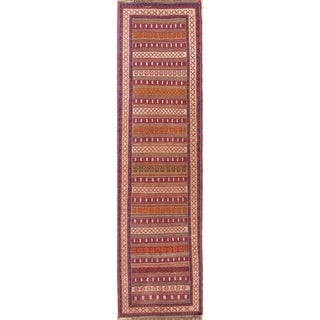 """Gracewood Hollow Mattos Geometric Hand-woven Wool Persian Runner Rug - 9'0"""" x 2'7"""" Runner"""
