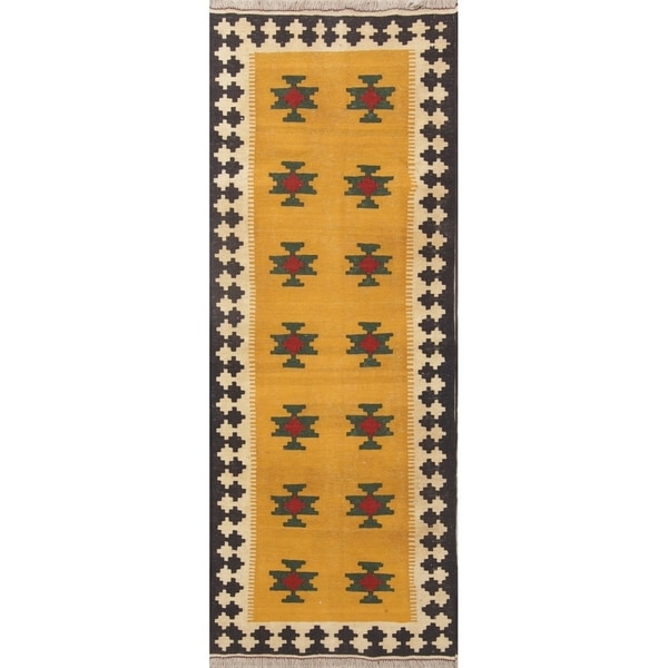 "Kilim Geometric Hand Woven Wool Persian Rug - 7'3"" x 2'9"" Runner"