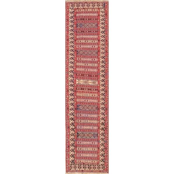 """Gracewood Hollow Mattos Geometric Hand-woven Wool Persian Runner Rug - 9'3"""" x 2'6"""" Runner"""