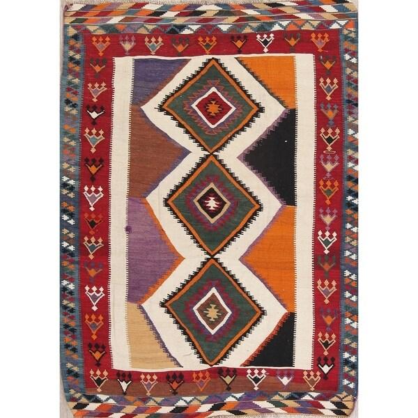 "Copper Grove Louroujina Antique Kilim Geometric Hand-woven Wool Persian Heirloom Item Area Rug - 7'2"" x 5'2"""