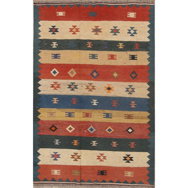 """The Curated Nomad Paterson Kilim Geometric Hand-woven Wool Persian Heirloom Item Area Rug - 5'7"""" x 3'8"""""""