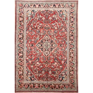 "The Curated Nomad Bachu Red Handmade Wool Persian Heirloom Item Area Rug - 10'3"" x 6'10"""