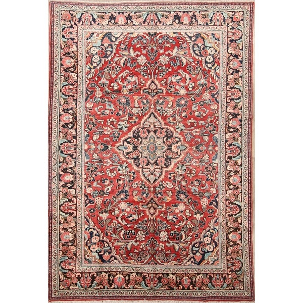 """The Curated Nomad Bachu Red Handmade Wool Persian Heirloom Item Area Rug - 10'3"""" x 6'10"""""""