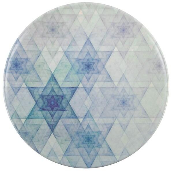 "Melange 6-Piece 100% Melamine Salad Plates Hanukkah Stars Collection Shatter-Proof and Chip-Resistant|, 10.5"", White"