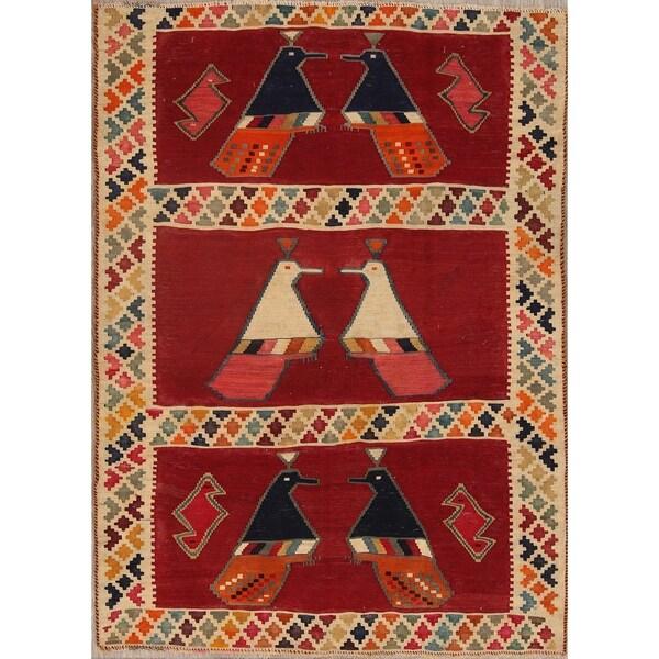 "Gracewood Hollow Hadjian Kilim Blend Woven Geometric Hand Woven Wool Rug - 6'2"" x 4'5"""