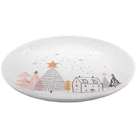 """Melange 6-Piece 100% Melamine Salad Plates Christmas Collection-Golden Fox Shatter-Proof and Chip-Resistant , 10.5"""", White"""