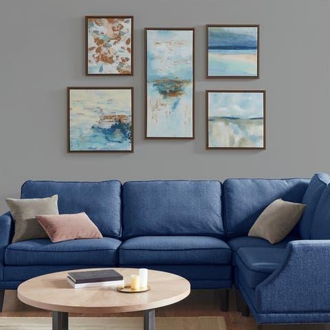Madison Park Blue Horizon Blue Gallery Art 5 Piece Set with Bronze Frame