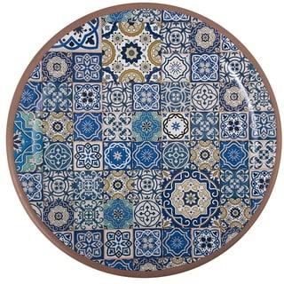 Link to Melange 6-Piece Melamine Salad Plate Set (Moroccan Tiles)|Shatter-Proof and Chip-Resistant Melamine Salad Plates| Blue Similar Items in Dinnerware
