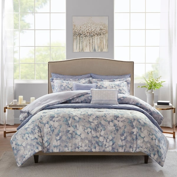 Madison Park Zinnia Blue 8 Piece Printed Seersucker Comforter and Coverlet Set Collection