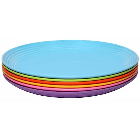 Melange 6-Piece Melamine Salad Plate Set (Solids Collection ) Shatter-Proof Salad Plates Multicolor