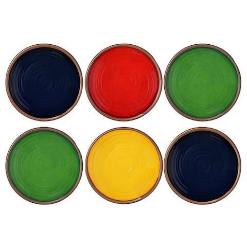 "Melange 6-Piece Melamine 8.5"" Salad Plates (Clay Collection) Shatter-Proof Salad Plates Color - Multicolor"