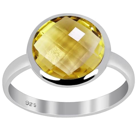 Citrine Sterling Silver Round Anniversary Ring by Orchid Jewelry