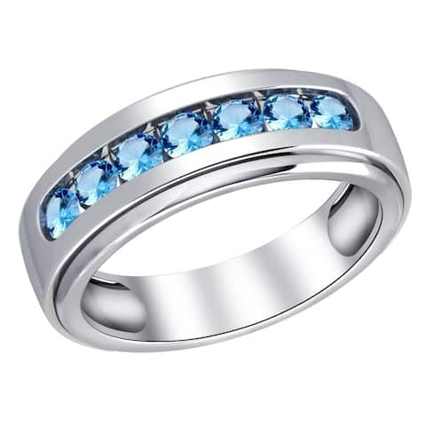 Blue Topaz Sterling Silver Round Band Ring by Orchid Jewelry