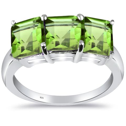 Peridot Sterling Silver Square 3-Stone Ring By Orchid Jewelry