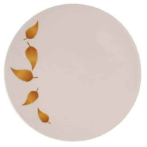 Melange 6-Piece Melamine Dinner Plate Set (Gold Leaves Collection ) Shatter-Proof and Chip-Resistant Melamine Dinner Plates