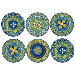 Melange 6-Piece Melamine Dinner Plate Set (Gardens of Italy Collection ) Shatter-Proof Dinner Plates