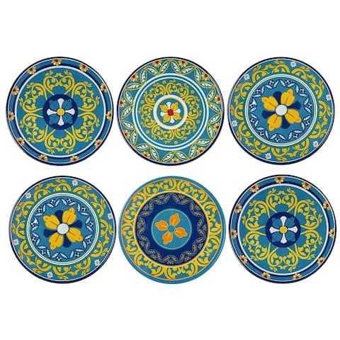 Melange 36-Piece Melamine Dinner Plate Set (Gardens of Italy Collection ) Shatter-Proof Dinner Plates
