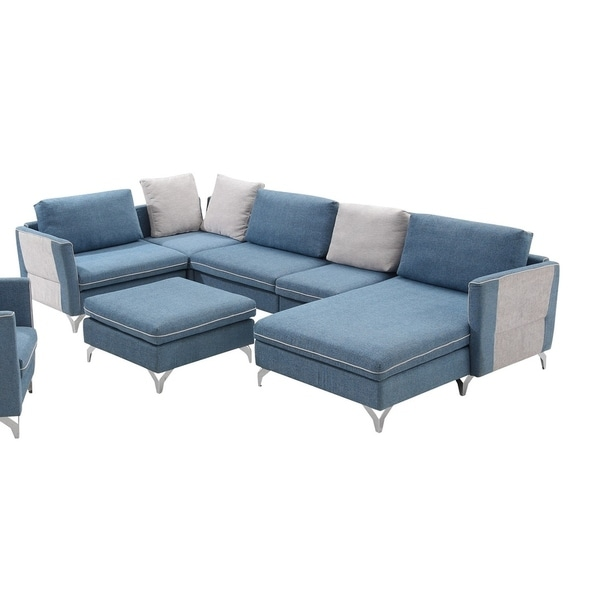 Straseni 6 Pieces Modular Sectional Sofa Upholstered in Blue Polyfiber