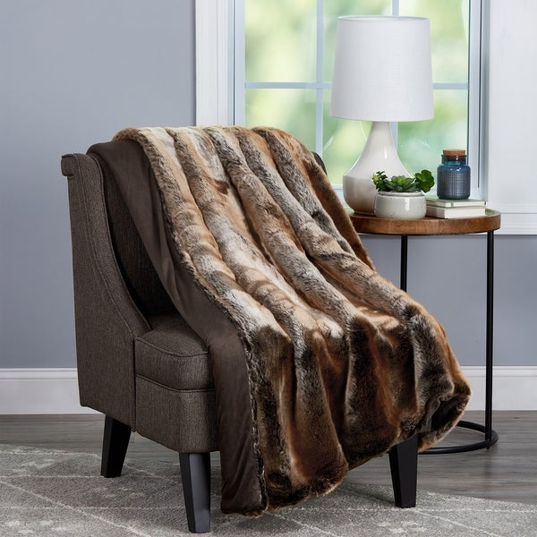e13f554172c Shop Windsor Home Amber Brown Faux Fur Throw with Gift Box - On Sale ...