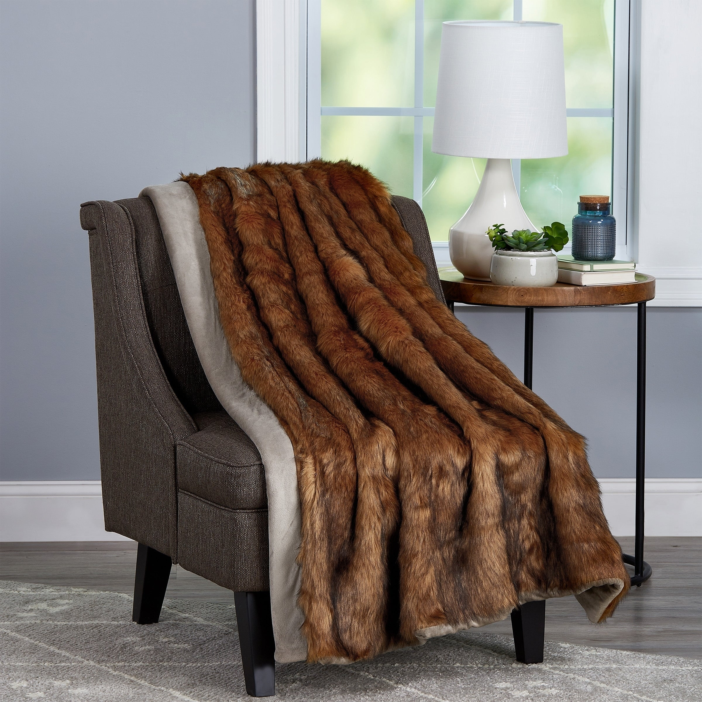 Shop For Fauxfur Throw Hypoallergenic Fauxfur Blanket Fauxmink Back And Gift Box 60x70 By Windsor Home Brown Get Free Delivery On Everything At Overstock Your Online Fashion Bedding Store Get 5 In Rewards With Club O 27146607
