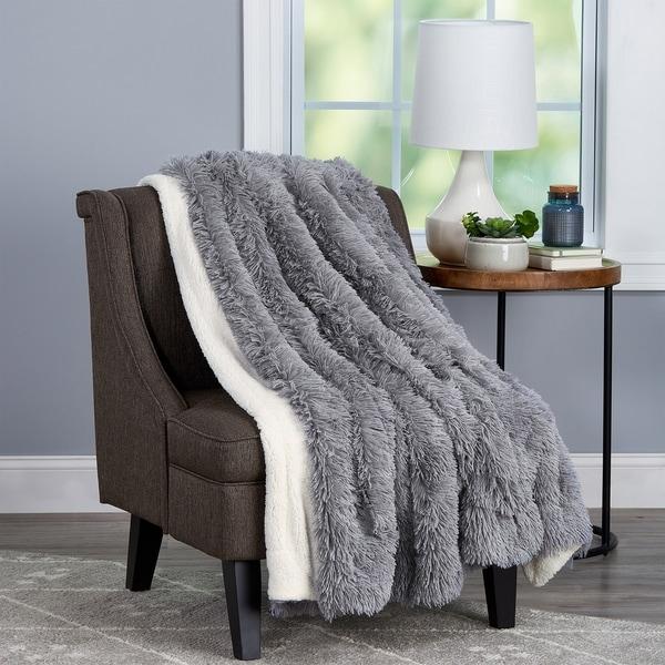 Shop Windsor Home Long Pile Faux Fur Throw Blanket On