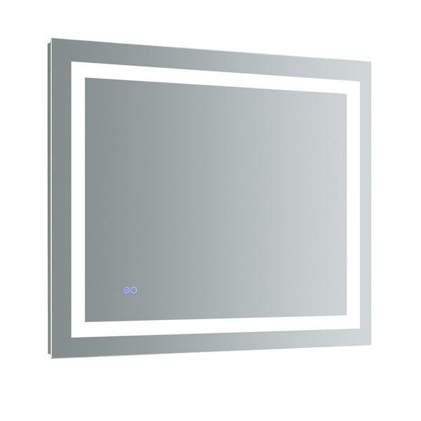 """Fresca Santo 36"""" Wide x 30"""" Tall Bathroom Mirror w/ LED Lighting and Defogger - Silver"""