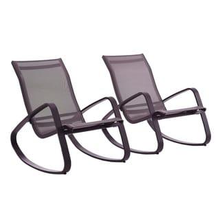 Link to Havenside Home Coffman Cove Rocking Outdoor Mesh Lounge Chair (Set of 2) Similar Items in Outdoor Sofas, Chairs & Sectionals