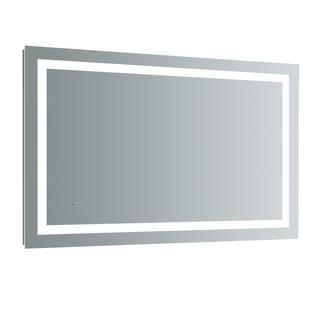 """Fresca Santo 48"""" Wide x 30"""" Tall Bathroom Mirror w/ LED Lighting and Defogger - Silver"""