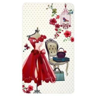 """Evolur Home Pink Dress Vanity Nursery Rug 70'x52"""""""