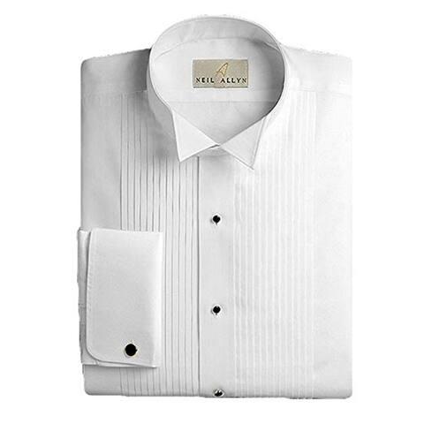 Neil Allyn Men's Tuxedo Shirt 100% Cotton Wing Collar 1/4 Pleat
