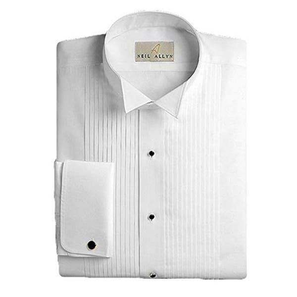 Neil Allyn Mens Tuxedo Shirt 100% Cotton Wing Collar 1/4 Pleat