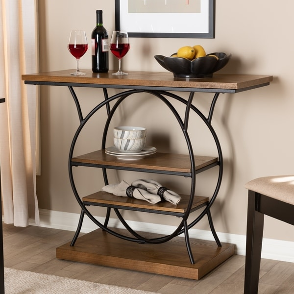 Industrial Walnut Brown Circular Console Table