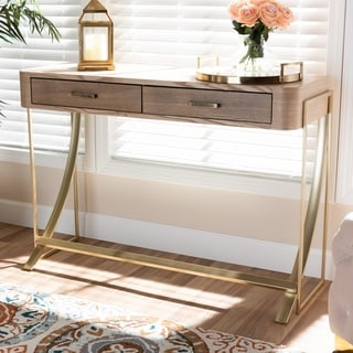 Modern and Contemporary Natural Brown 2-Drawer Console Table