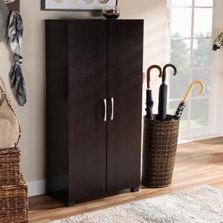 Modern and Contemporary Wenge Dark Brown 2-Door Shoe Storage Cabinet