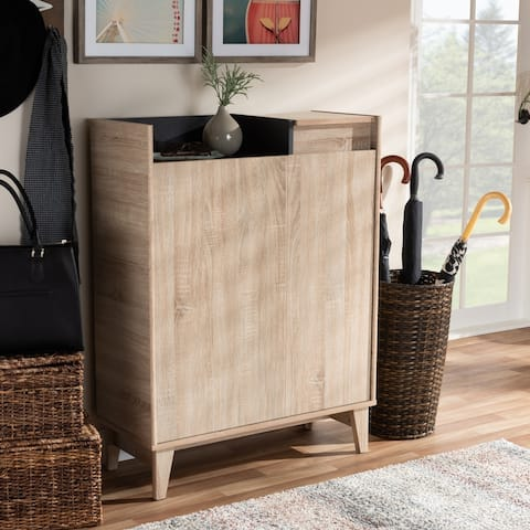 Mid-Century Two-Tone Shoe Cabinet with Drawer
