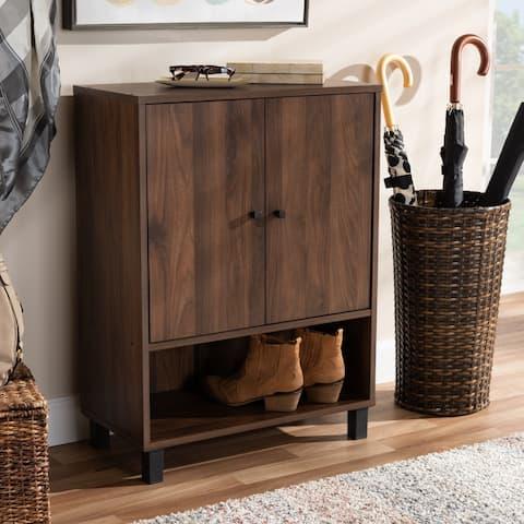 Modern and Contemporary Walnut Brown 2-Door Shoe Storage Cabinet